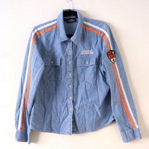 Harley Davidson Blue Chambray Long Sleeve Button